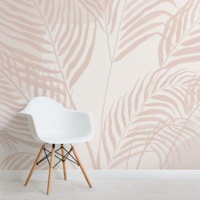 light pastel inky tropical pattern wallpaper mural