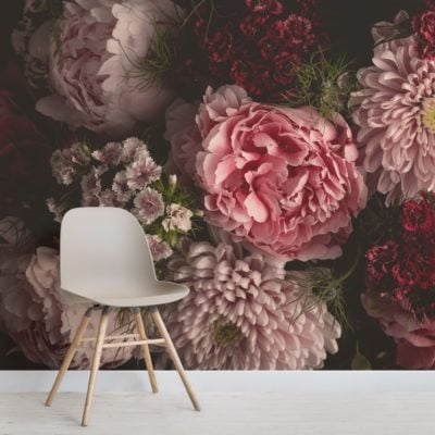 pink photographic oversized dark moody floral wallpaper mural