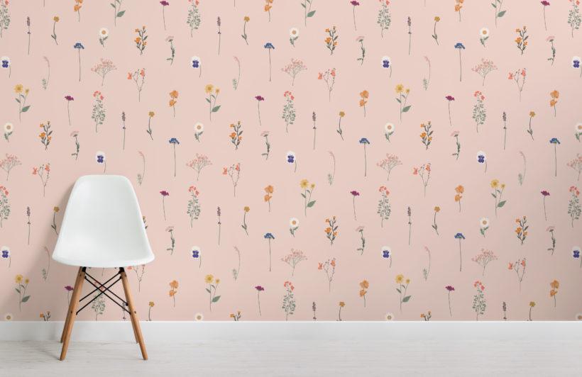 pink pressed flower repeat pattern wallpaper