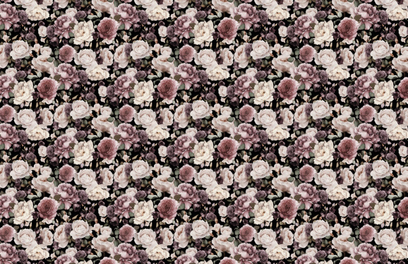 pink & purple dark floral repeat pattern wallpaper
