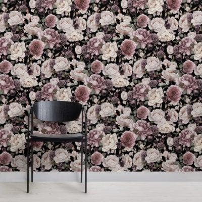 pink & purple dark floral repeat pattern wallpaper