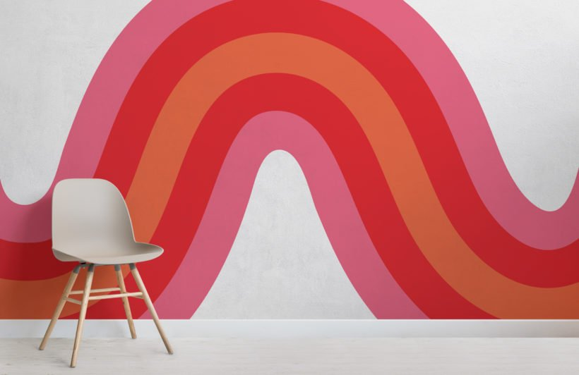 pink, red & orange 70s retro wave wallpaper mural