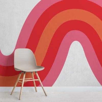 pink, red & orange 70s retro wave wallpaper mural