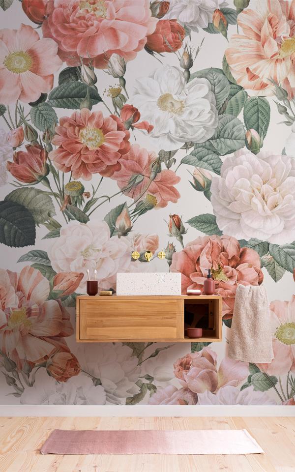 Pink & Red Roses Vintage Floral Wallpaper Mural Image