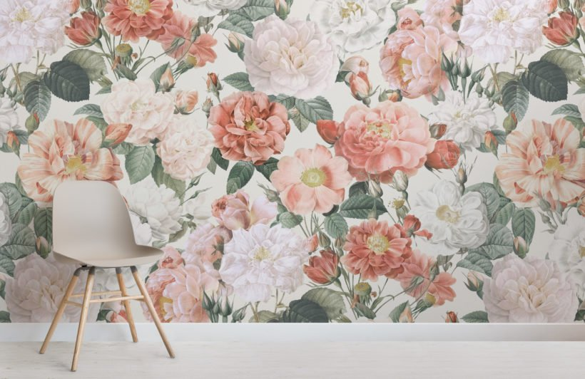 pink & red roses vintage floral wallpaper mural