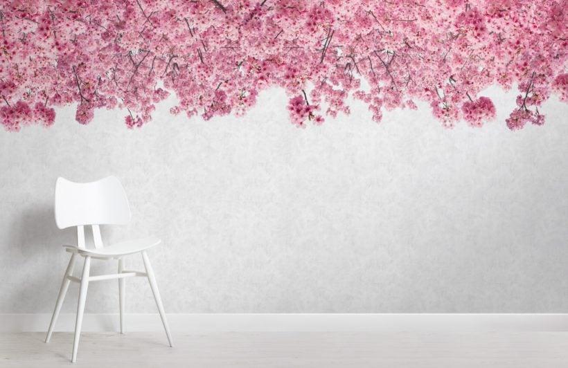 pink sakura cherry blossom tree wallpaper mural