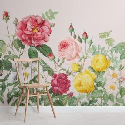 pink spring flowers vintage floral wallpaper mural