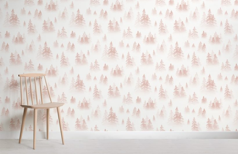 pink watercolour birch tree forest wallpaper mural