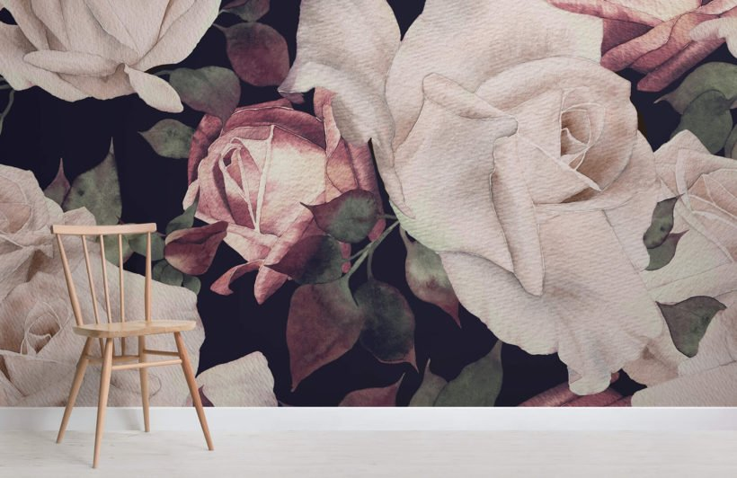 pink-watercolour-dark-floral-room-wall-mural