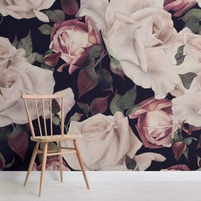 pink-watercolour-dark-floral-square-wall-mural