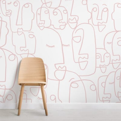 pink white abstract lines faces wallpaper mural-Square