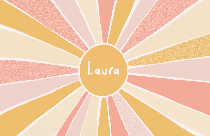 pink & yellow sun custom name kids wallpaper mural