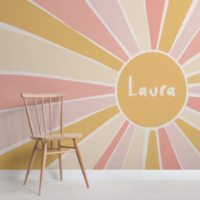 pink & yellow sun custom name kids wallpaper mural