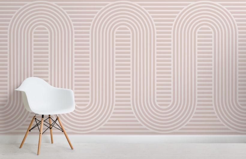 pink zen garden curves & stripes wallpaper mural