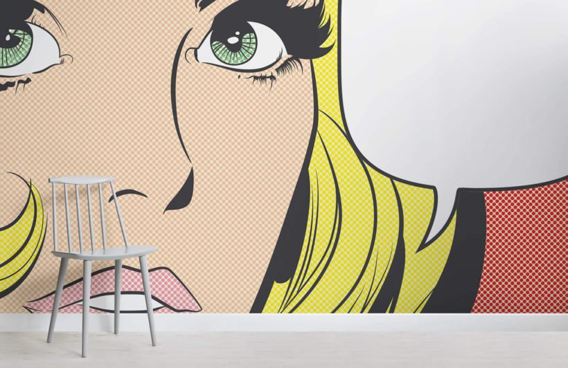 pop-art-woman-retro-room-wall-murals