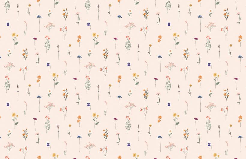pressed flower repeat pattern wallpaper