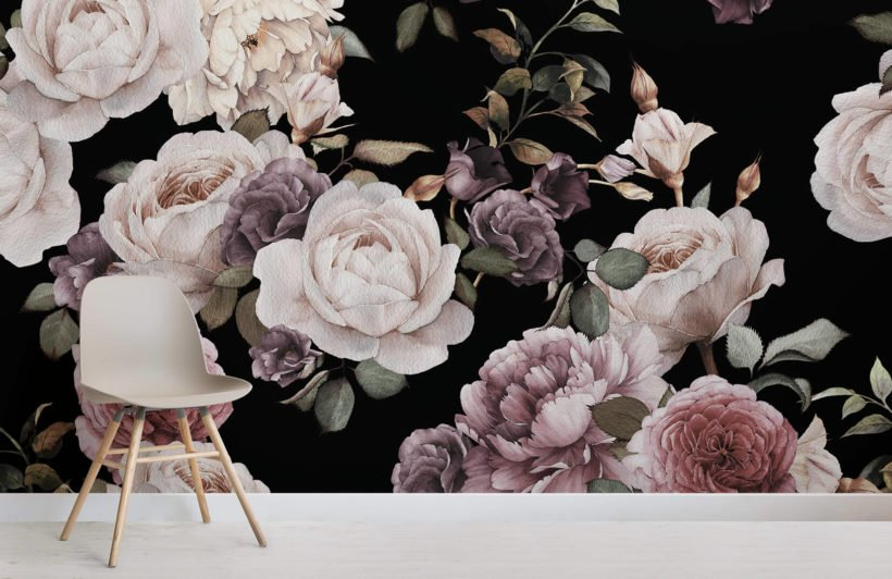 purple-and-pink-dark-floral-room-wall-mural