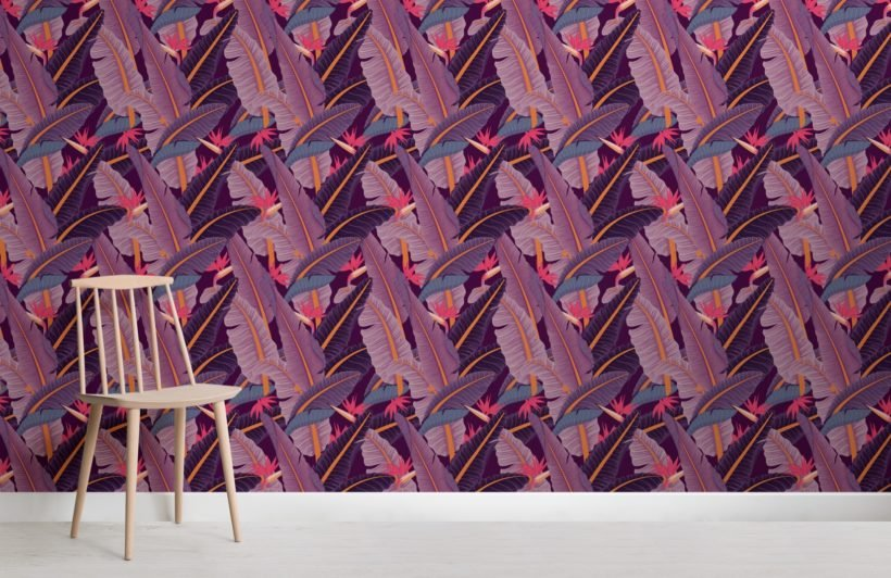 purple-banana-leaf-pattern-tropical-wallpaper-mural