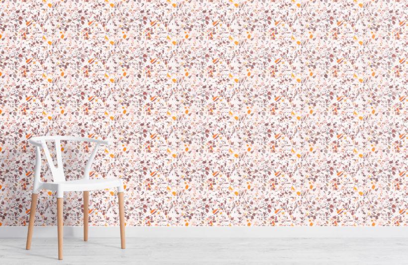 purple terrazzo effect pattern wallpaper mural