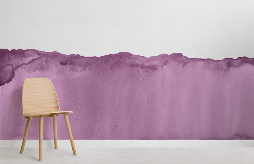 purple wave watercolour wallpaper mural-Room