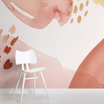 red clay and peach abstract watercolour brush strokes wallpaper mural