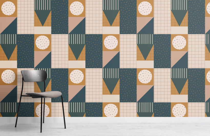 retro dark neutral geometric repeat pattern wallpaper