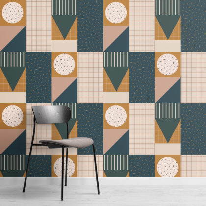 Retro Dark & Neutral Geometric Repeat Pattern Wallpaper Image