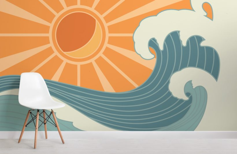 retro surf mural wallpaper