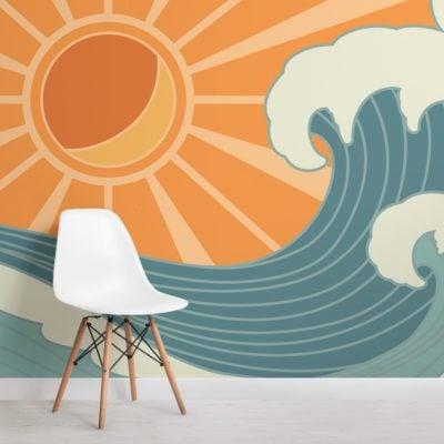 retro surf mural wallpaper