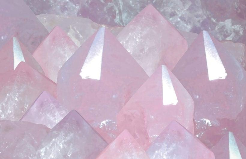 rose quartz-crystals-plain-wall mural-kj