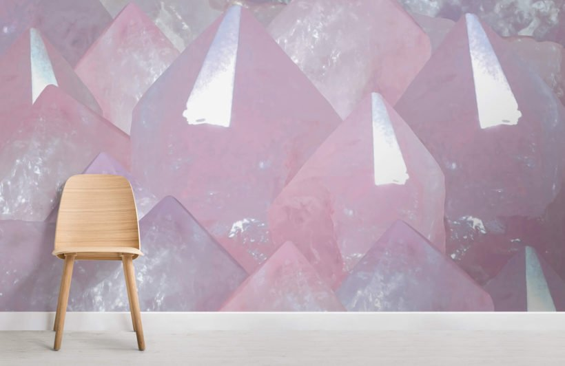 rose quartz-crystals-room-wall mural-kj
