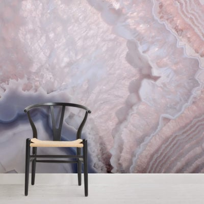image of rose quartz wallpaper wall mural with chair and flooring