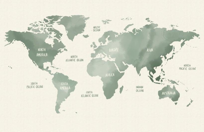 sage green & neutral watercolor world map wallpaper mural