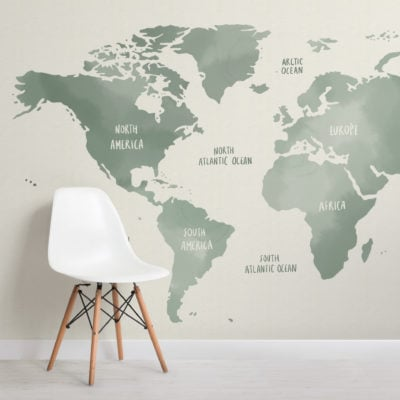 sage green & neutral watercolor world map wallpaper mural