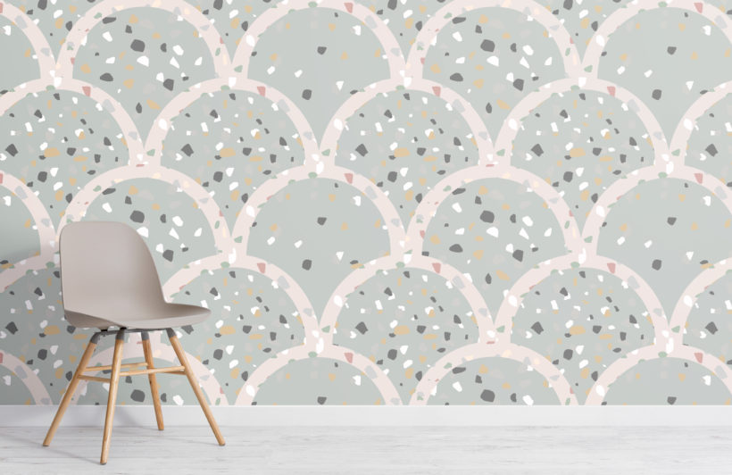 sage green terrazzo scallop pattern wallpaper mural