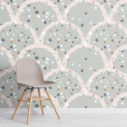 Sage Green Terrazzo Scallop Pattern Wallpaper Mural Image