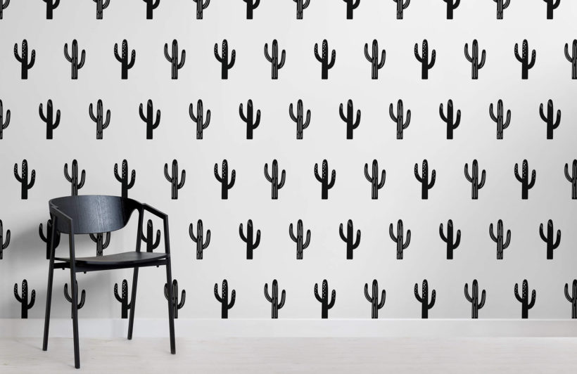 saguaro - black and white - room - mw - kj wall mural