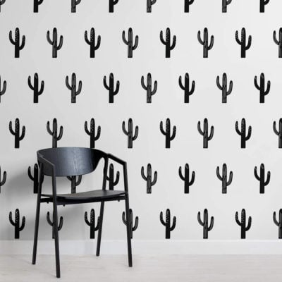 saguaro - black and white - square - mw - kj wall mural