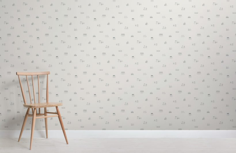 small illustrated house repeat pattern wallpaper