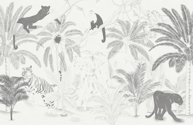 sophisticated jungle animals illustration wallpaper mural