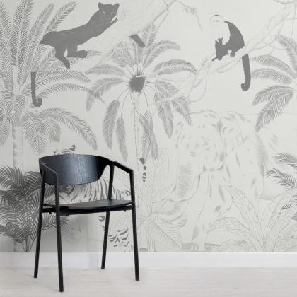 Sophisticated Jungle Animals Illustration Wallpaper Mural Image