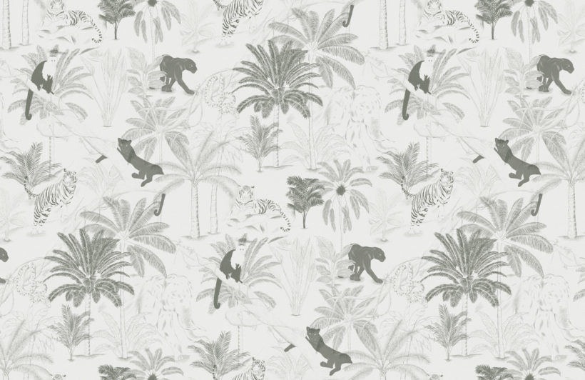 sophisticated minimal jungle animals pattern wallpaper mural