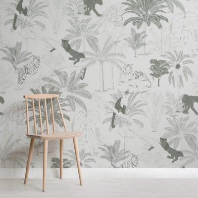 sophisticated minimal jungle animals pattern wallpaper mural