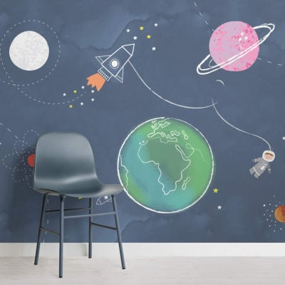 image of kids space rocket planet astronaut wallpaper wall mural with chair and flooring