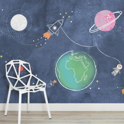Kids Cartoon Space Rocket Wallpaper Mural Image