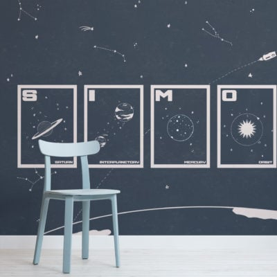 space, stars & planets navy personalised wallpaper mural