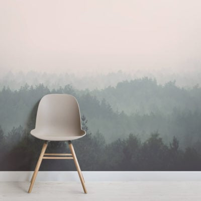 Peach and Green Ombre Forest Wall Mural - Square