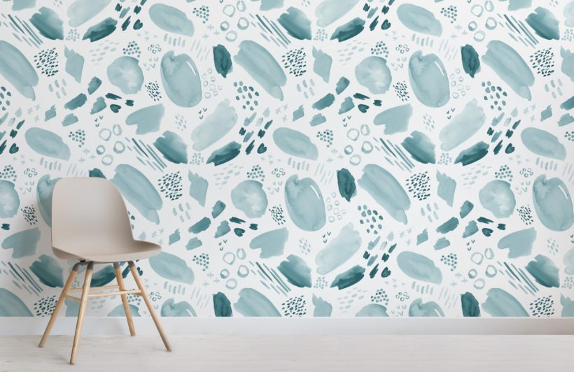 teal abstract watercolour brush stroke pattern wallpaper mural