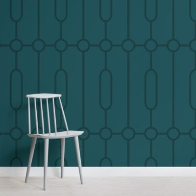 teal geometric art deco print wallpaper mural
