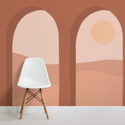 terracotta arches & desert landscape modern wallpaper mural